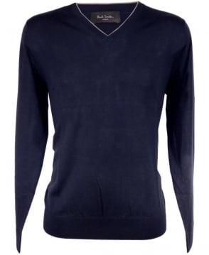 Paul Smith - London Navy PMXL/971N/K90 Grey Trim V-Neck Knitwear