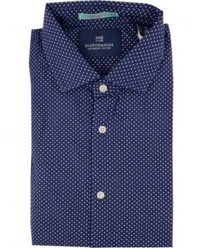 Scotch & Soda Navy Polka Dot Short Sleeve Shirt