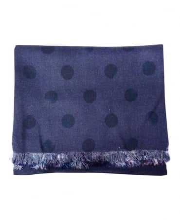 Paul Smith - Accessories Navy Polka Floral Reversible Scarf