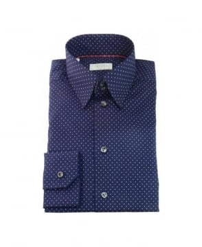 Eton Shirts Navy Polkadot Formal Shirt