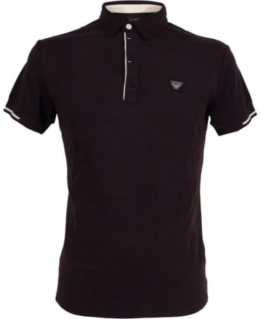 Armani Navy Polo Shirt In Cotton Interlock