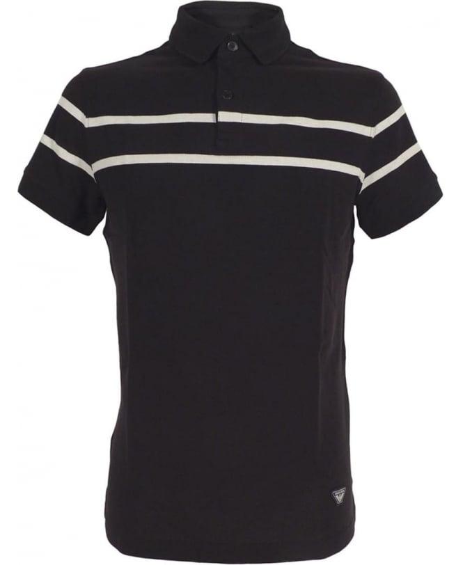 Armani Navy Polo Shirt In Cotton Pique
