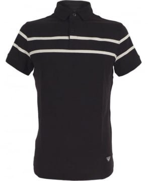 Armani Jeans Navy Polo Shirt In Cotton Pique