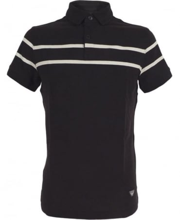 Armani Navy Polo Shirt In Cotton Pique