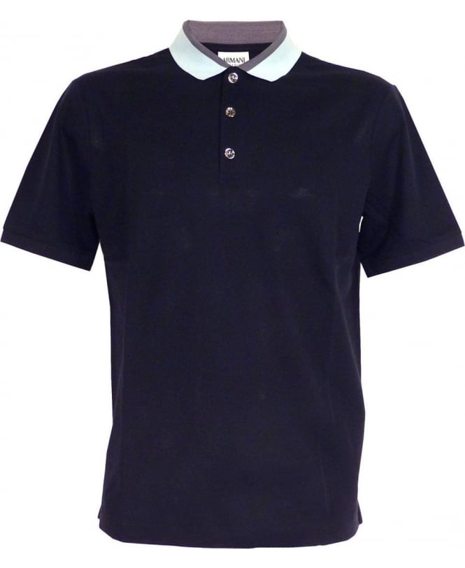 Armani Navy Polo With Contrasting Collar