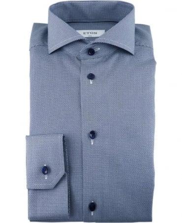 Eton Shirts Navy Poplin Shirt With Micro Pattern
