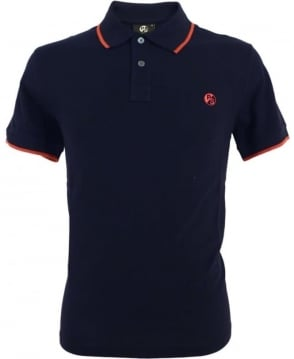 PS by Paul Smith Navy PS Logo With Collar Trim Polo Shirt