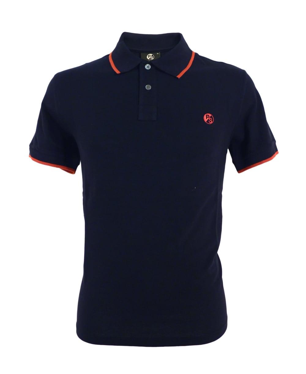 Navy PS Logo With Collar Trim Polo Shirt