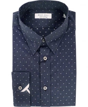 Nigel Hall Navy Puddifant Spot Cuff Trim Shirt