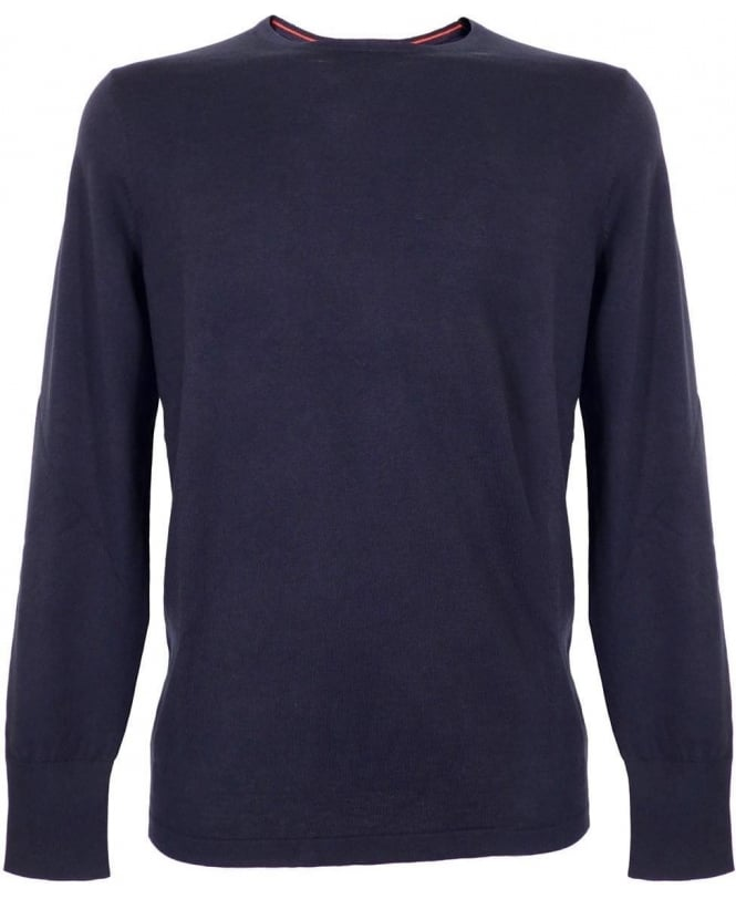Hugo Navy Sabinus Smooth-Knit Silk Mix Jumper