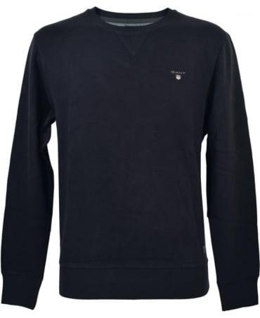 Gant Navy Sacker Crew Neck Sweatshirt