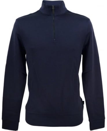 Hugo Boss Navy Sidney 50308286 Half Zip Sweatshirt