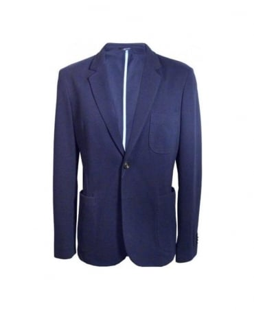 Navy Single Vent Pigue Melange Blazer