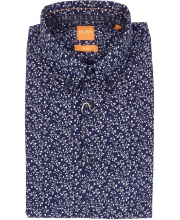 Hugo Boss Navy Slim Fit Floral Print Casual Shirt 'EdipoE' By Boss Orange