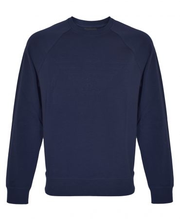 Navy Stretch Sweatshirt With Logo