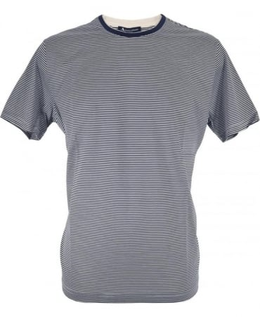 Aquascutum Navy Stripe Tyson Crew Neck T/Shirt