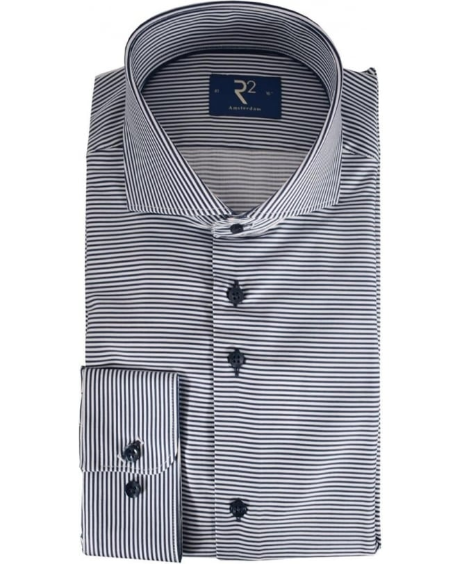 R2 Amsterdam Navy Striped 92 STP 03 Shirt
