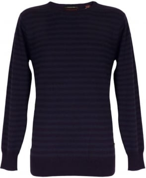Scotch & Soda Navy Striped Crew Neck Pullover