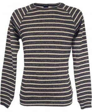 Scotch & Soda Navy Striped Melange Sweatshirt