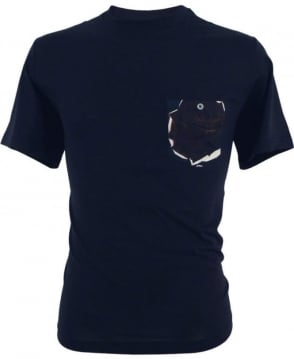 PS by Paul Smith Navy Supima Cotton Rose Pocket T-shirt