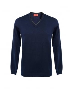 Hugo Navy Swedil Leather Trim V-Neck Knitwear