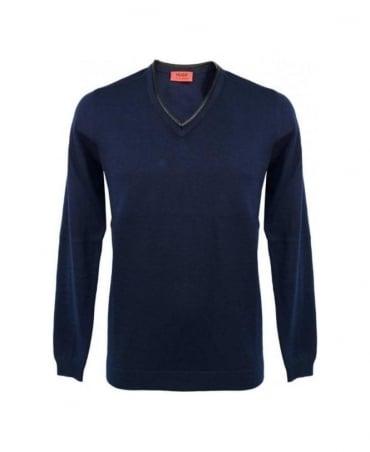 Hugo Navy Swedil Leather Trim V-Neck Knitwear