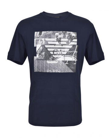 Navy T-Shirt With Photographic Print