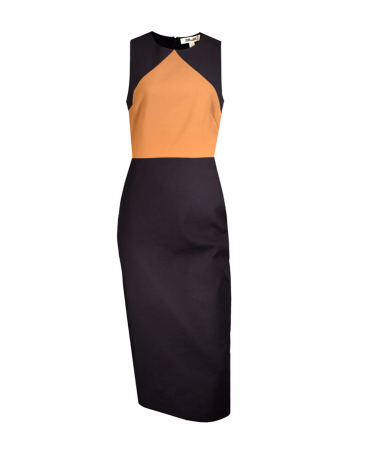 Navy & Tan Colour Block Midi Fitted Dress