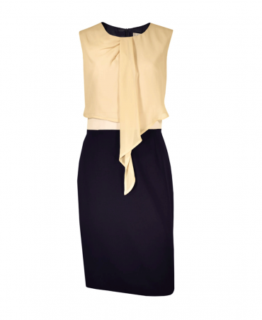 Navy & Taupe Twist Front Sleeveless Fitted Dress