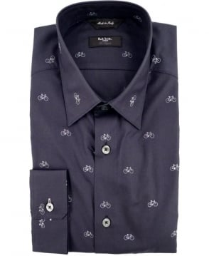 Paul Smith - London Navy The Byard PNXL-659A-M73 Bicycle Print Shirt