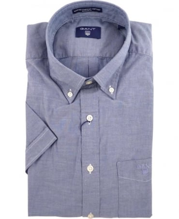 Gant Navy The Washed Pinpoint Oxford Short Sleeve Shirt