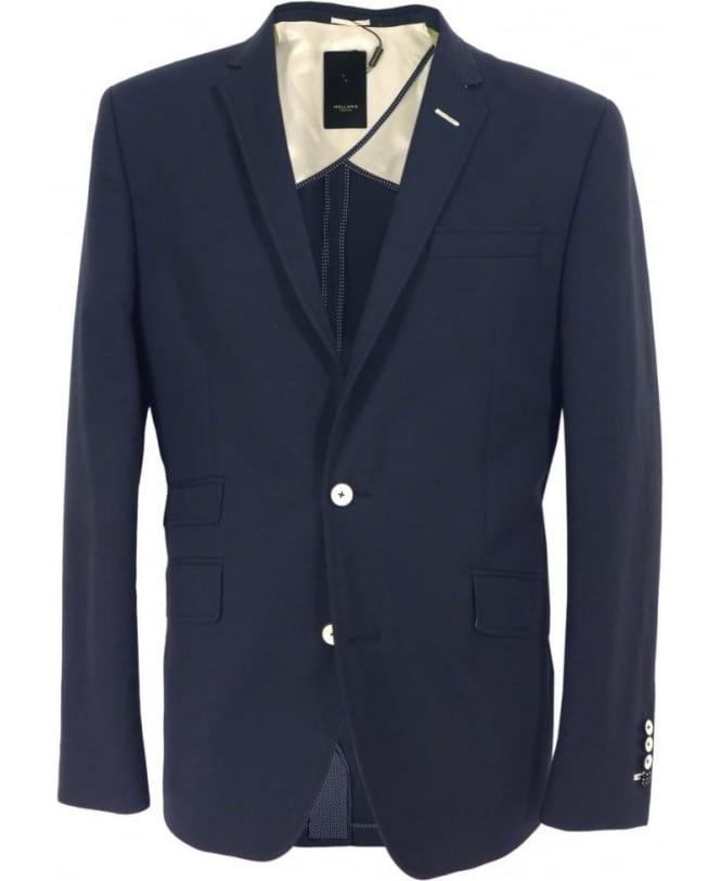 Holland Esquire Navy Trend Waffle Two Button Jacket
