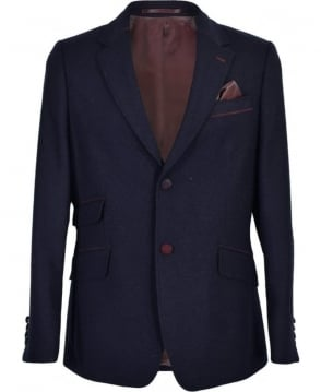 Holland Esquire Navy Tweed Regular Fit Blazer