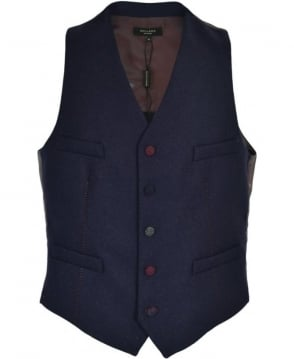 Holland Esq Navy Tweed Waistcoat