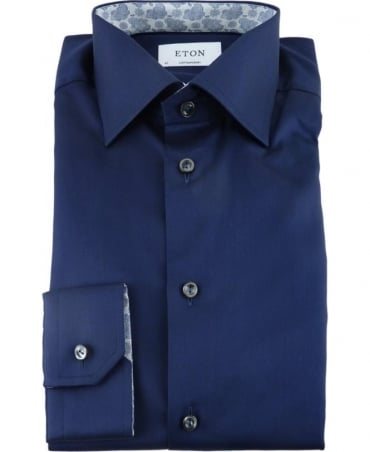 Eton Shirts Navy Twill Shirt With Contrasting Trim