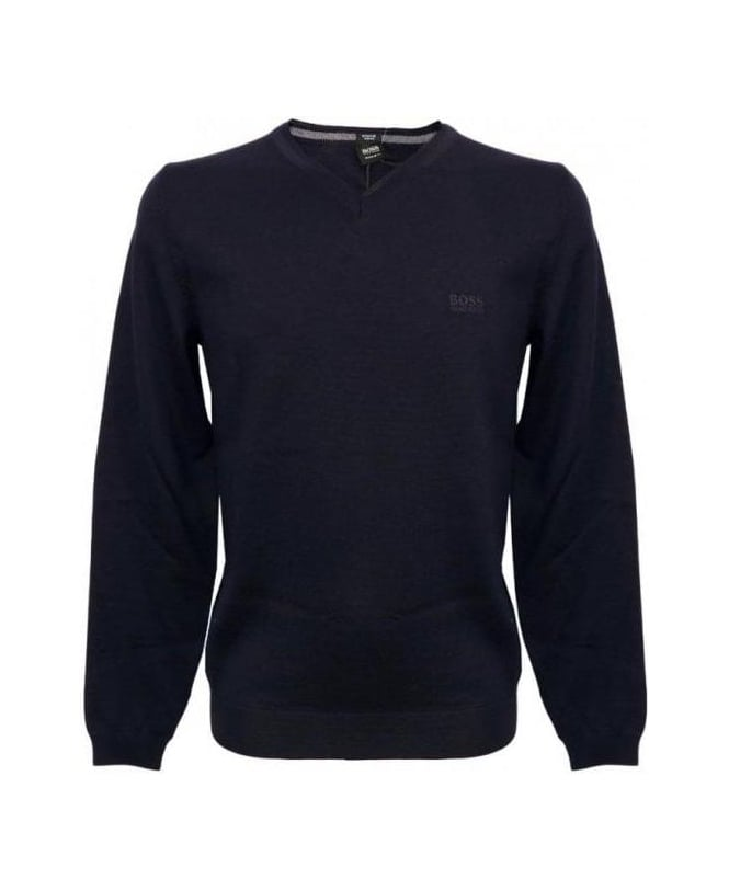 Hugo Boss Navy V-Neck Batisse-B Knitwear