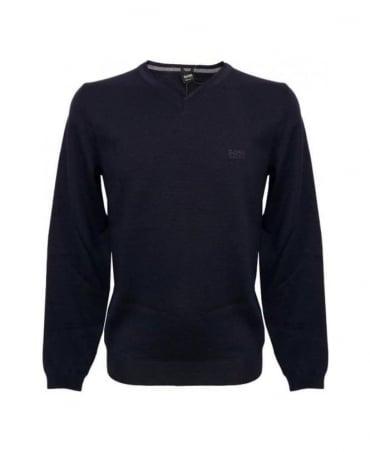 Hugo Boss Navy V-Neck Batisse-B Knitwear
