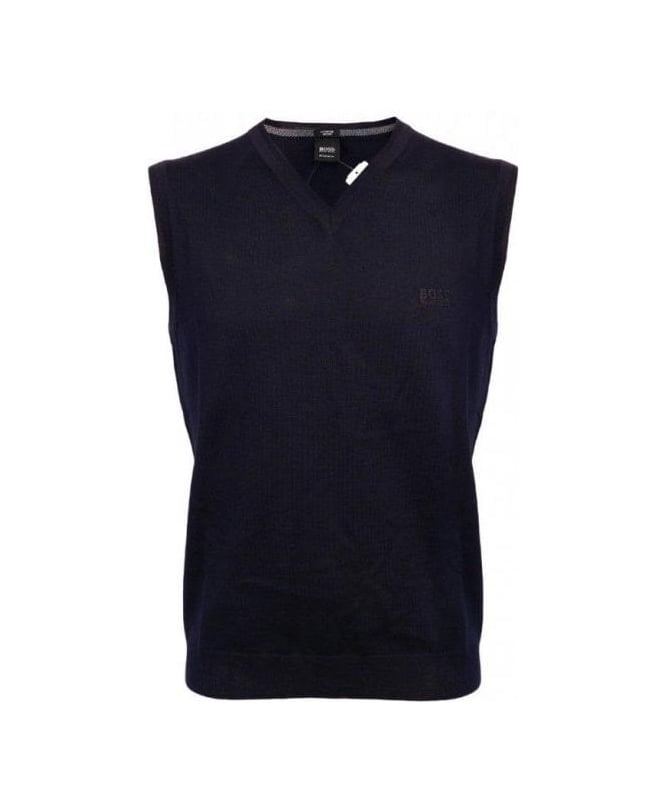 Hugo Boss Navy V-Neck Gilet Babar-B Knitwear