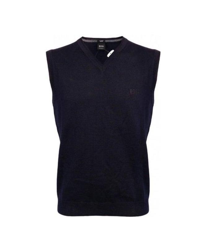 Hugo Boss Navy V-Neck Vest Babar-B Knitwear
