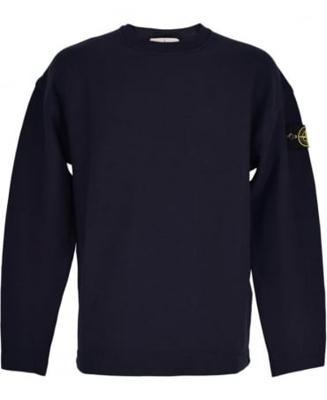 Stone Island Navy Washed Crew Neck Sweatshirt