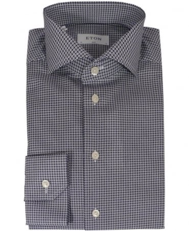 Eton Shirts Navy/White Geometric Print Shirt