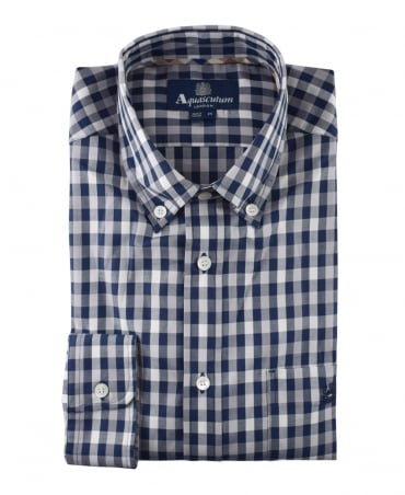 Aquascutum Navy/White/Grey York Club Check Shirt