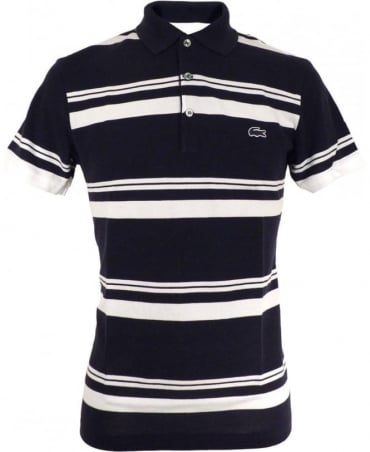 Lacoste Navy & White Striped Slim Fit Polo