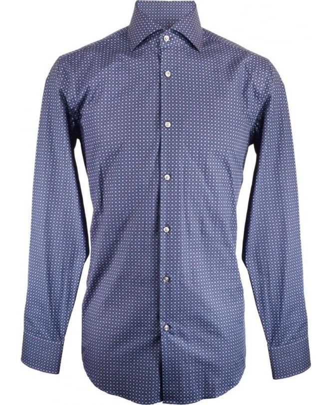 ff717d50 Boss Navy With Blue Square Pattern Jaron Shirt - Shirts from ...
