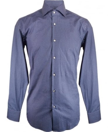 Hugo Boss Navy With Blue Square Pattern Jaron Shirt