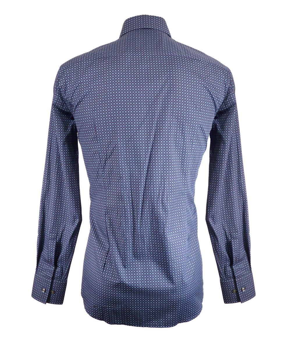 Hugo boss navy with blue square pattern jaron shirt hugo for Hugo boss navy shirt