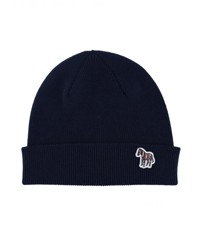 34793a8a450 PS Paul Smith Navy Wool Zebra Beanie Hat - Hats from Jonathan Trumbull UK