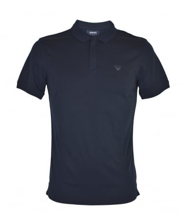 Armani Jeans Navy Zip Placket Polo