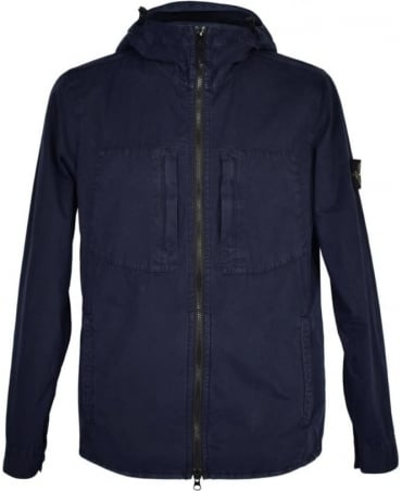 Stone Island Navy Zip Up Hooded Blouson