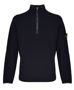 Stone Island Navy Zipped Collar 5526A1 Jumper
